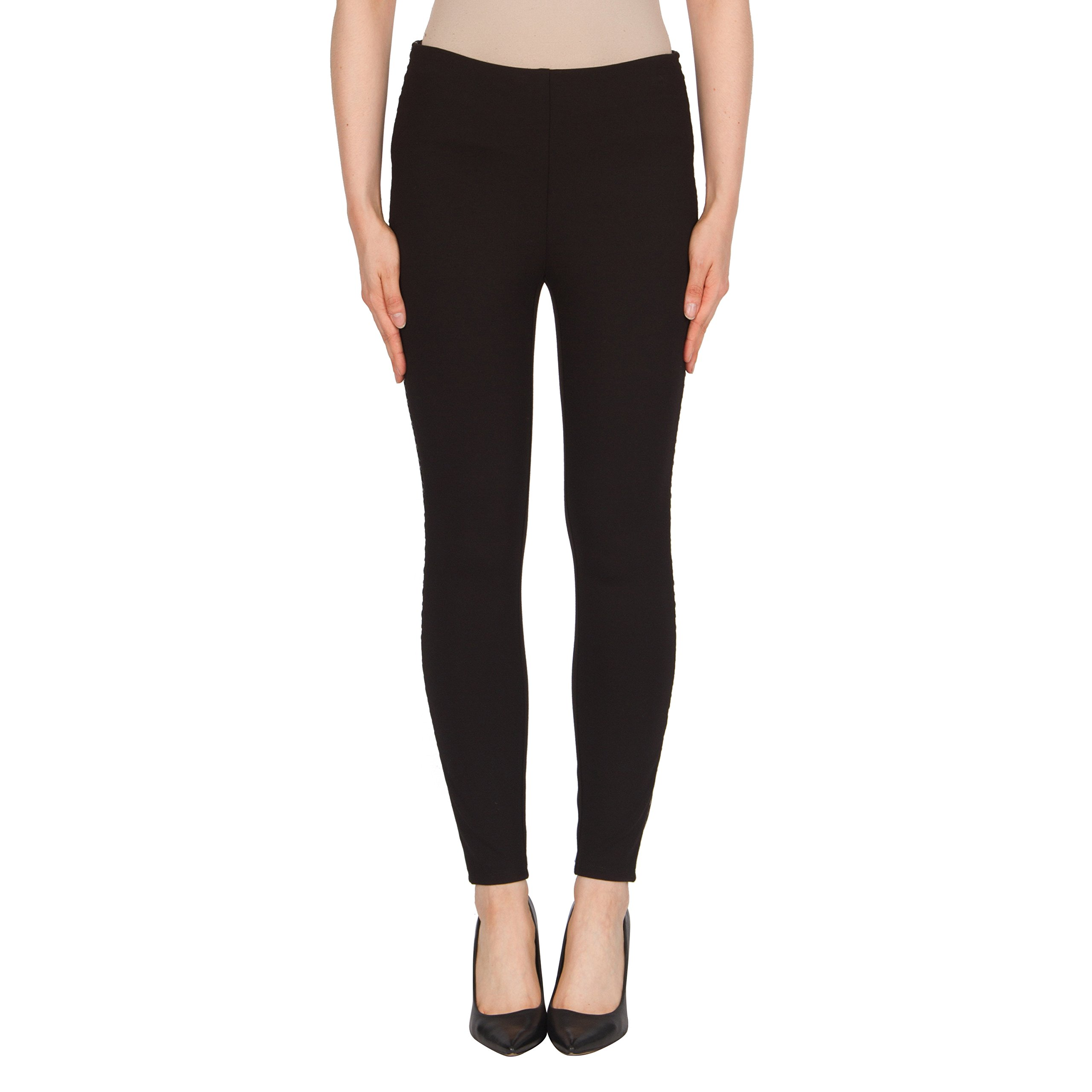 Joseph Ribkoff Black Stretch Legging Pant with Pleather Detail - Style 174305 - Size 14 by Joseph Ribkoff