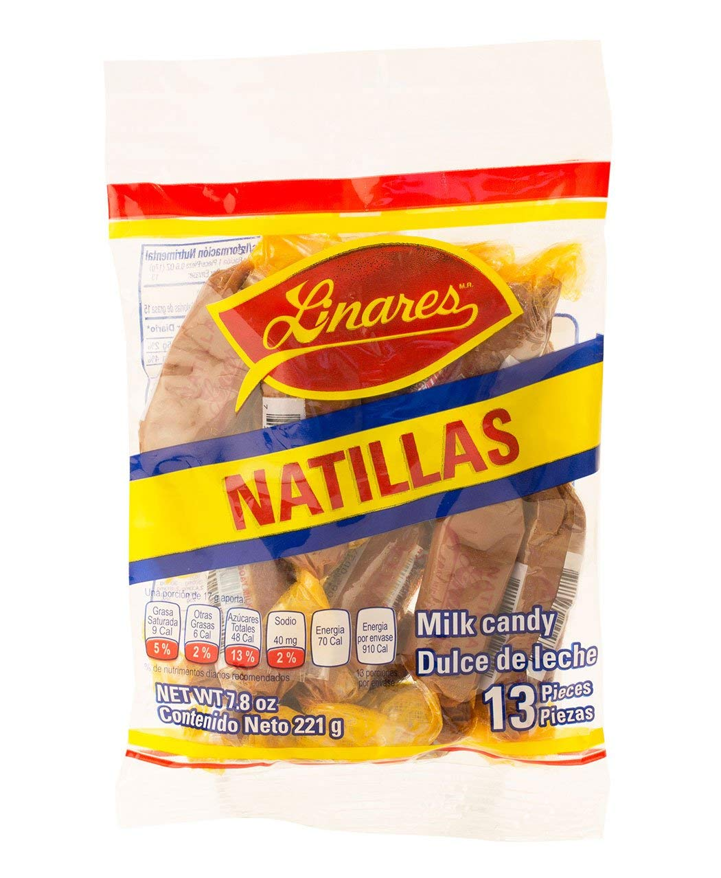 Linares Natilla Milk Candy 4-Pack (13 pieces of .6 Oz. per pack) GLUTEN FREE