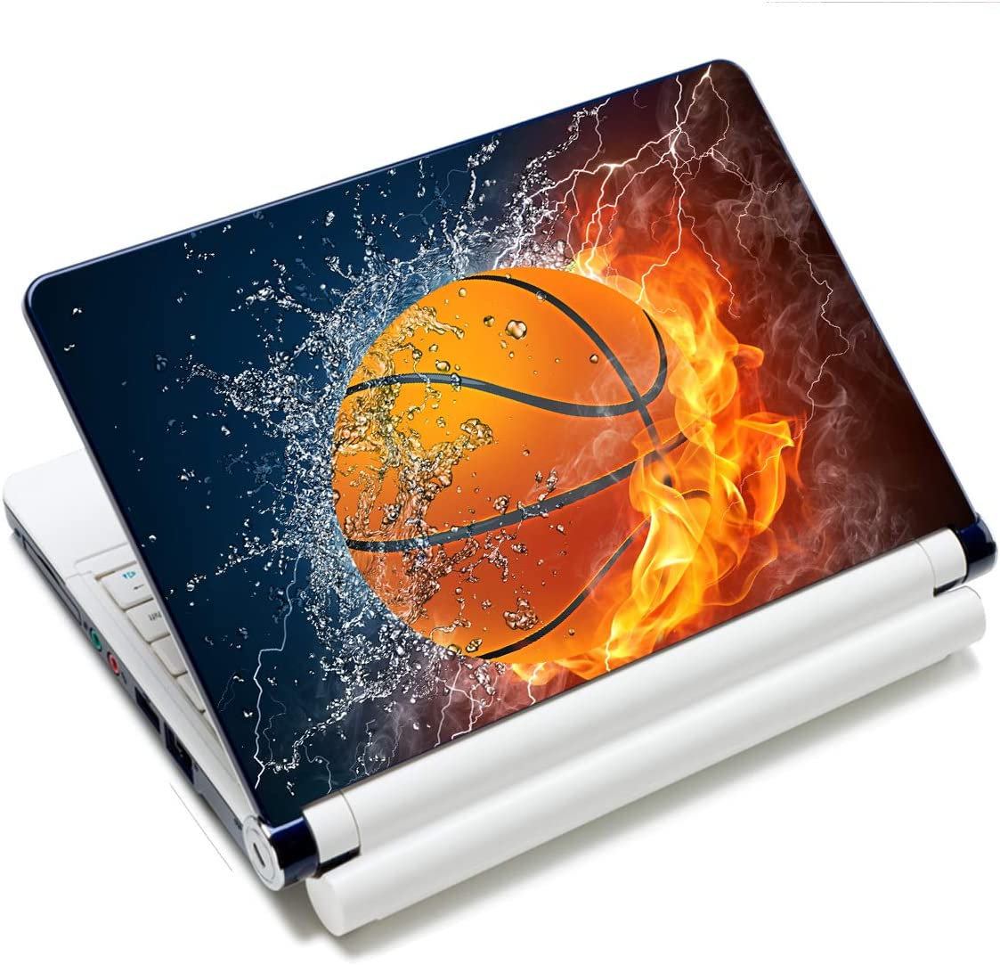 Laptop Notebook Skin Sticker Cover Decal Fits 12 13 13.3 14 15 15.4 15.6 inch Laptop Protector Notebook PC | Easy to Apply, Remove and Change Styles (Basketball Fire)