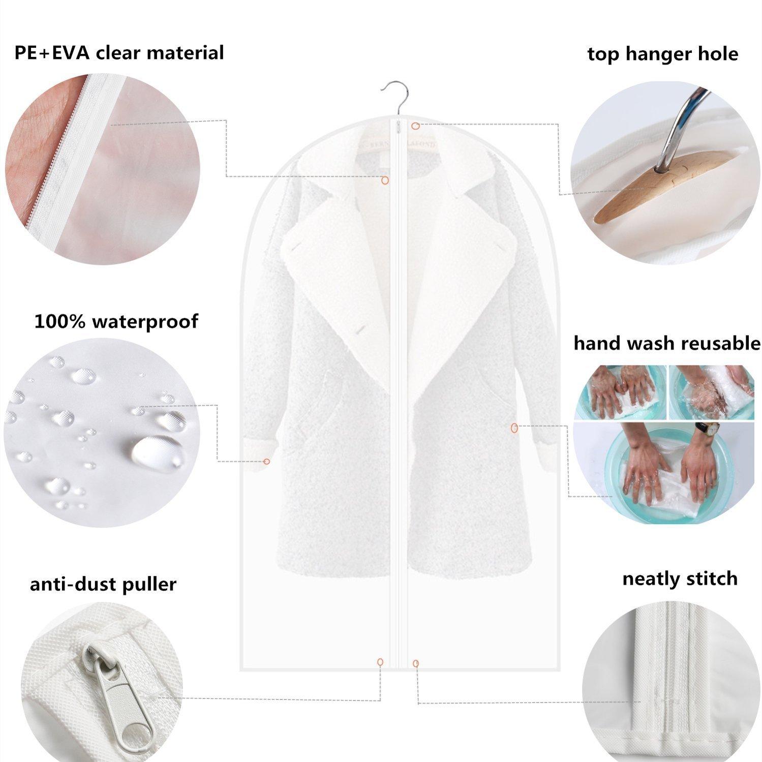 Fundas de ropa mediano para camisa su/éter 3 unidades 90 x 60 cm Abar/ía protectores de ropa trajes abrigos con cremallera