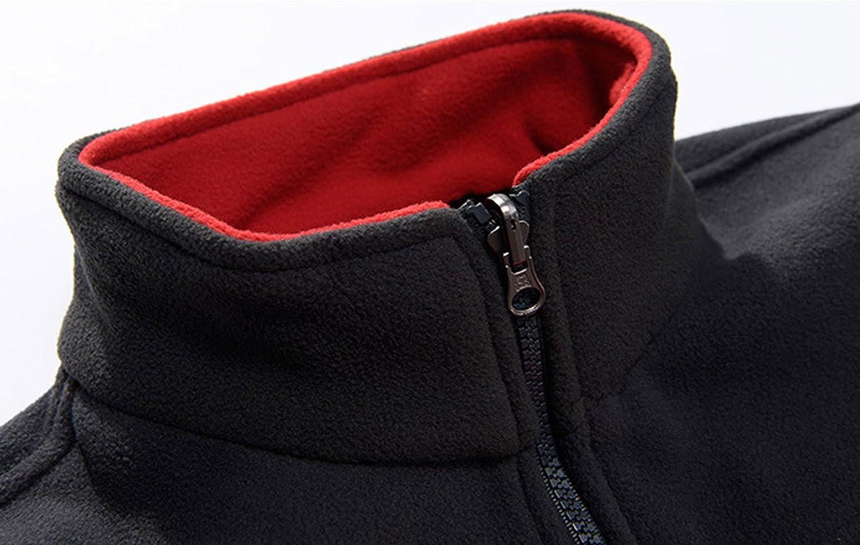 chouyatou Mens Casual Long Sleeve Full Zip Color-Block Polar Fleece Jacket