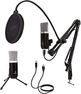 USB Condenser Microphone Kit for PC or laptop Streaming Studio Cardioid Mic with Shock Mount Boom Arm Pop Filter for Recording Podcasting Voice Over Broadcasting Home Studio Gaming YouTube