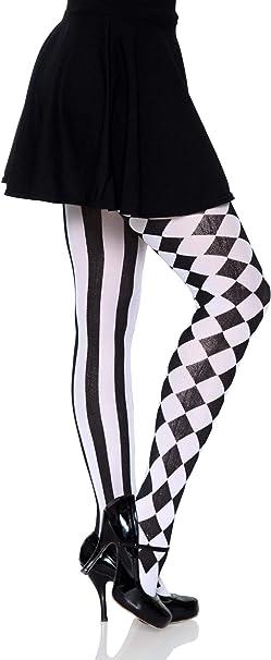 White /& Black Harlequin Heart Stockings Leg Avenue Poker Alice in Wonderland