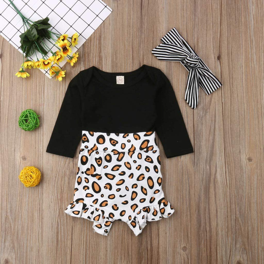 Buoyee Toddler Kids Baby Girl Infant Clothes Romper Tops Leopard Print Pants Outfits