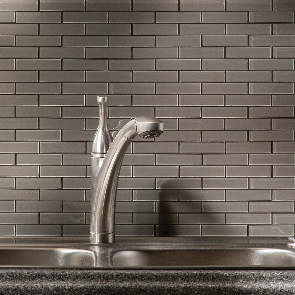 15 sq ft Kit Aspect Peel and Stick Leather Matted Glass Backsplash Kit for Kitchen and Bathrooms