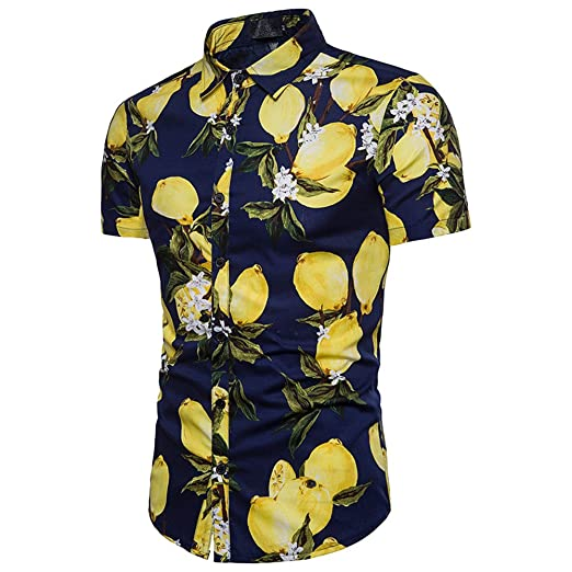 c1dfb64560 Vickyleb Summer Shirts Funky Hawaiian Shirt Men Short-Sleeve Front-Pocket  Beach Palm Multi