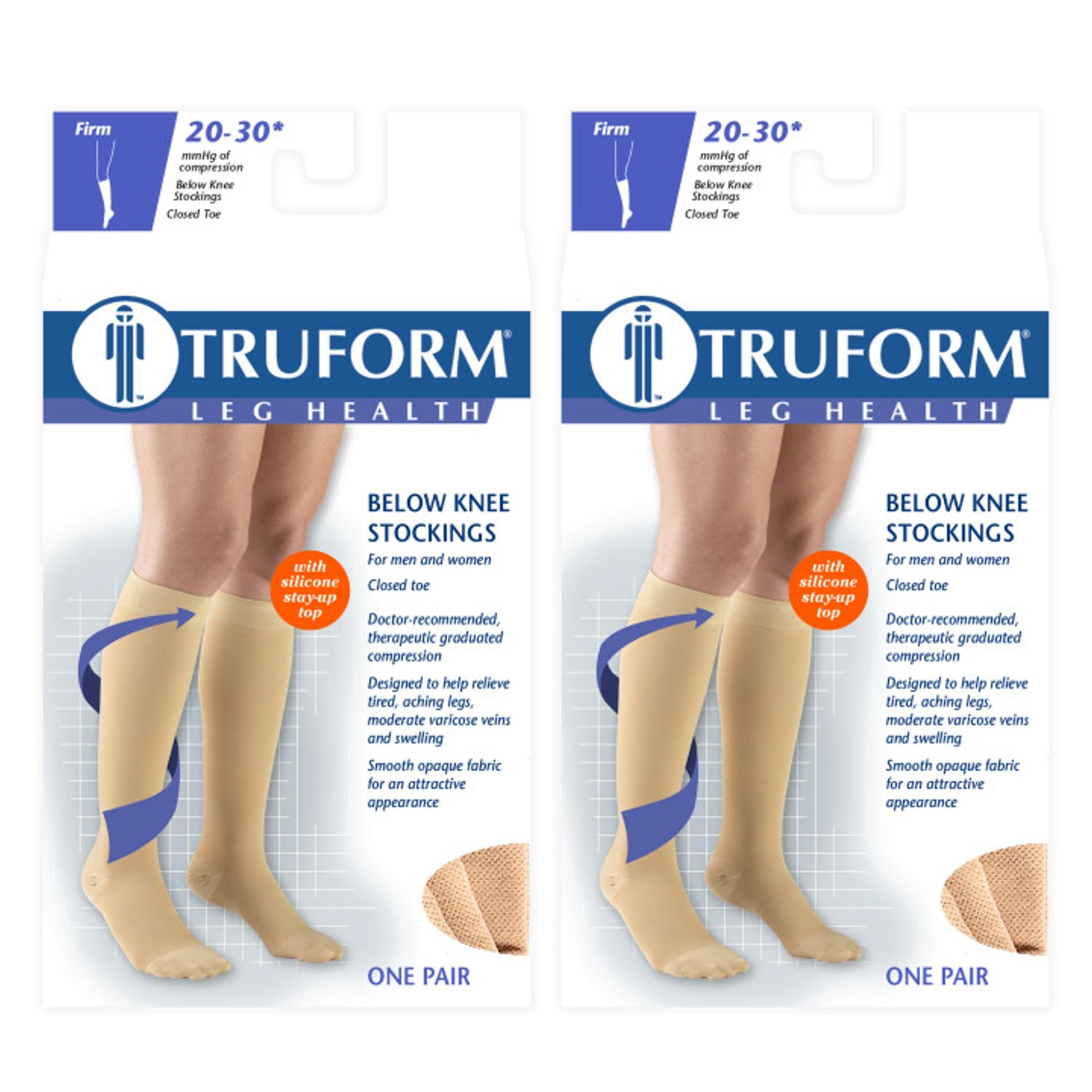 Truform Compression 20-30 mmHg Knee High Dot Top Stocking Beige, X-Large, 2 Count by Truform (Image #1)