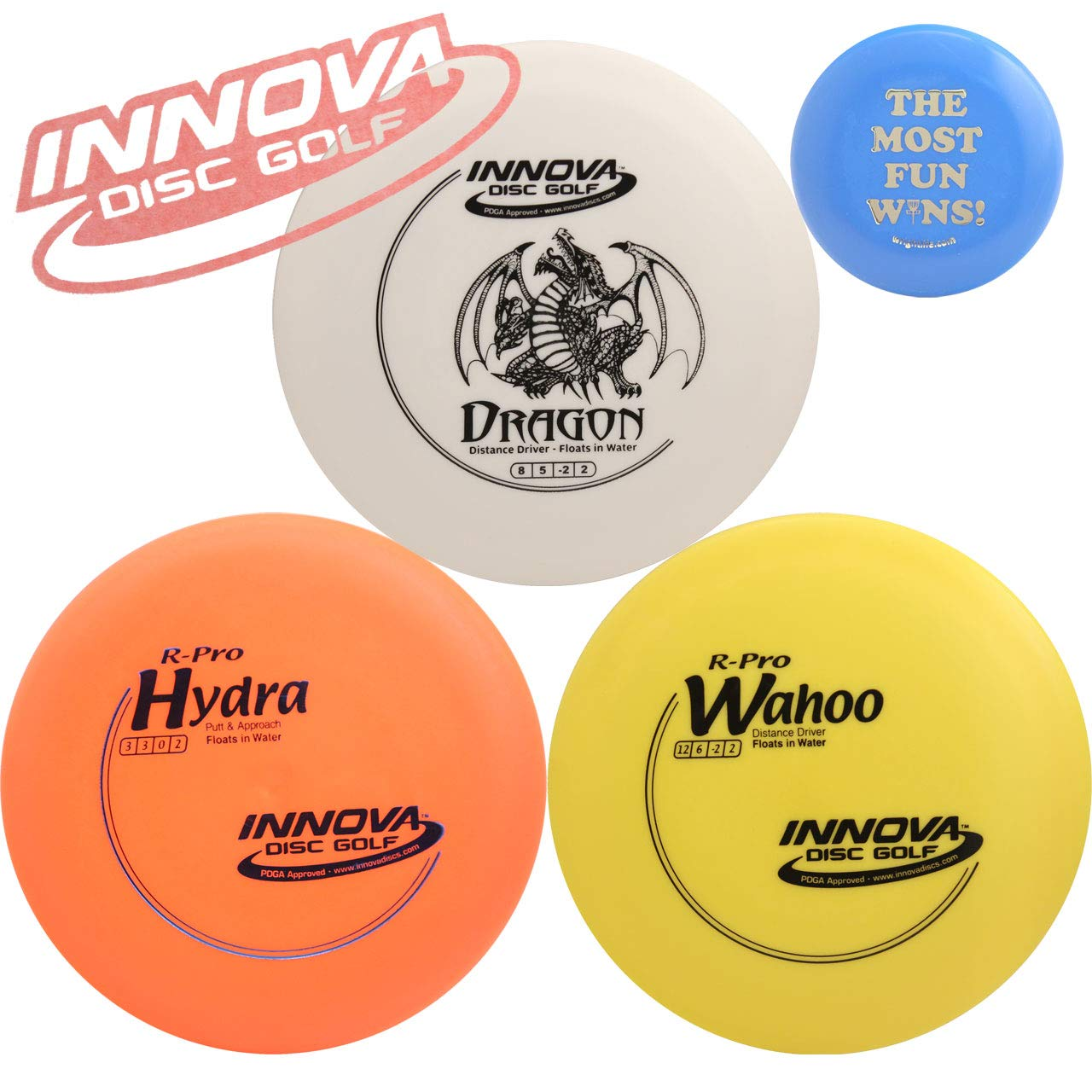 Innova Floating Disc Golf Gift Set Bundle - 3 Floater Discs Pack (Floats on Water) + Mini Marker Disc, Sticker (5 Items, Colors May Vary) by Innova Disc Golf