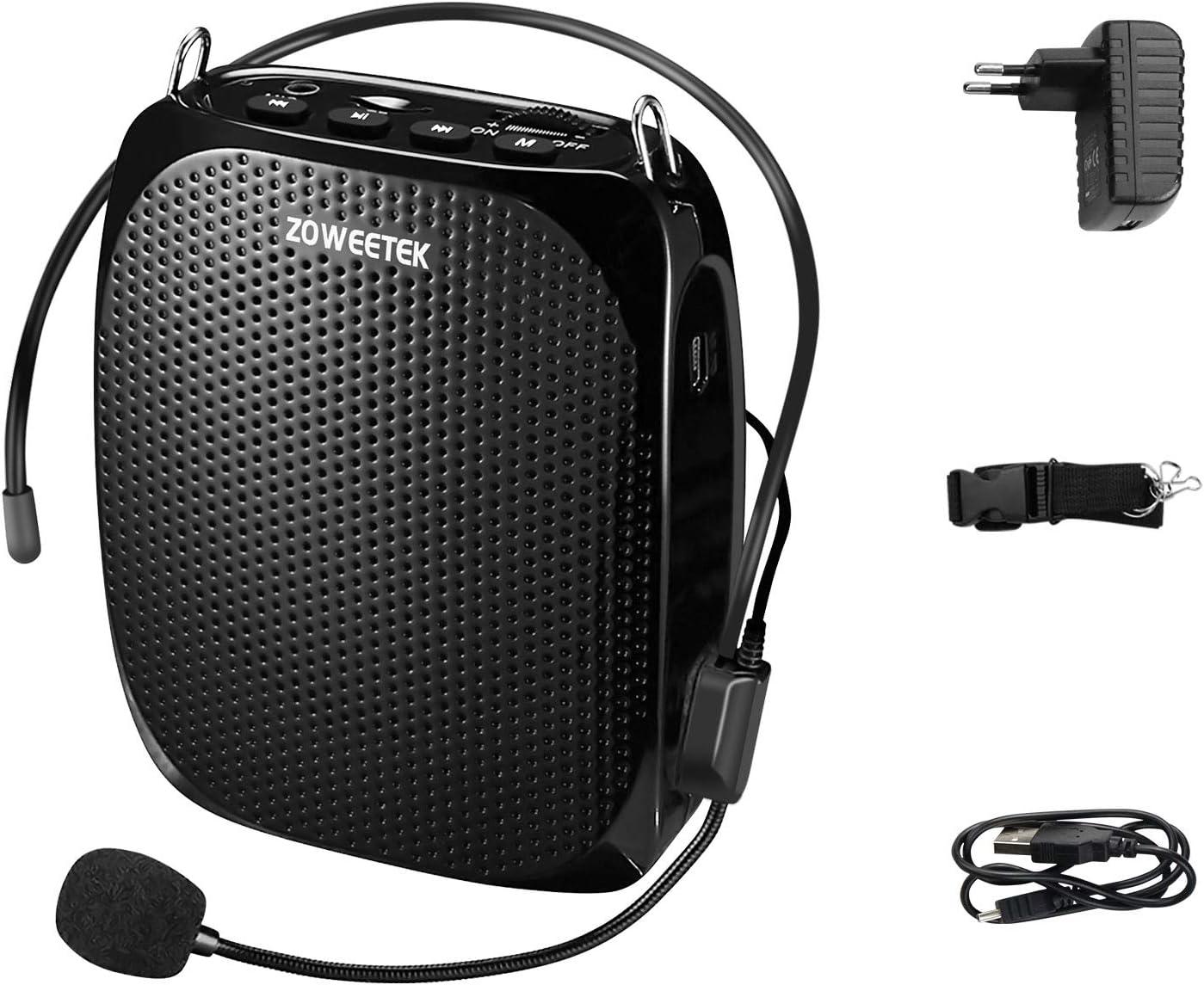 Zoweetek® Amplificador de voz Altavoz portátil ligero recargable 1800mAh Continue 8–15H con micrófono para los profesores, entrenadores, guías, presentaciones, disfraces, etc.