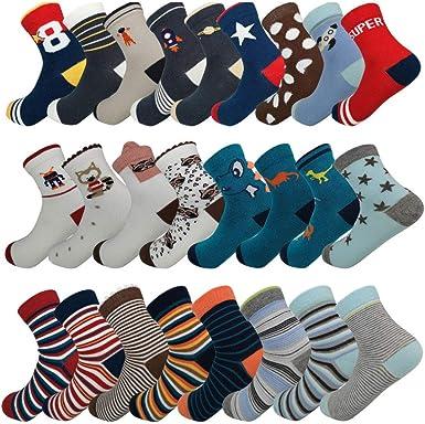 Dongua Random 10 Packs Kid Socks Cotton Comfort Mid Cut Fall Winter Spring Socks