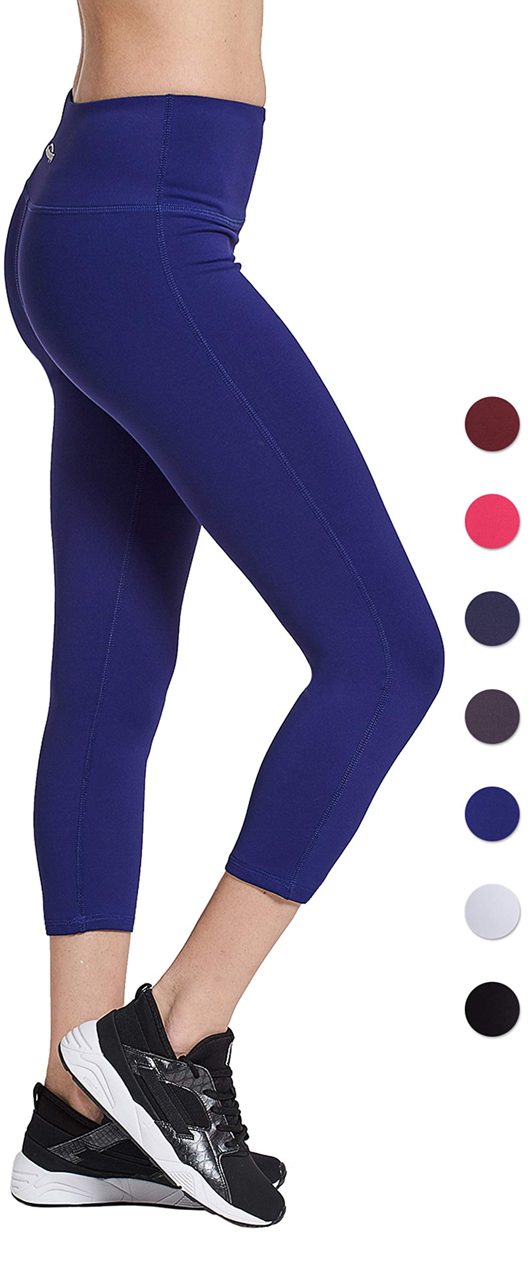 8d34eb9995 Galleon - COOLOMG Women's Yoga Capri Leggings Workout Running Pants Non  See-Through With Inner Pocket Dark Blue Adults X-Large
