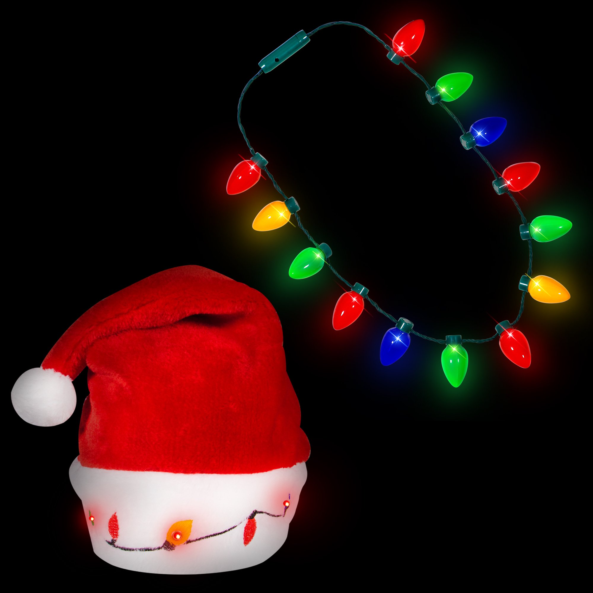 Blinking Light-up Plush Red Santa Hat + LED Christmas Bulb ...