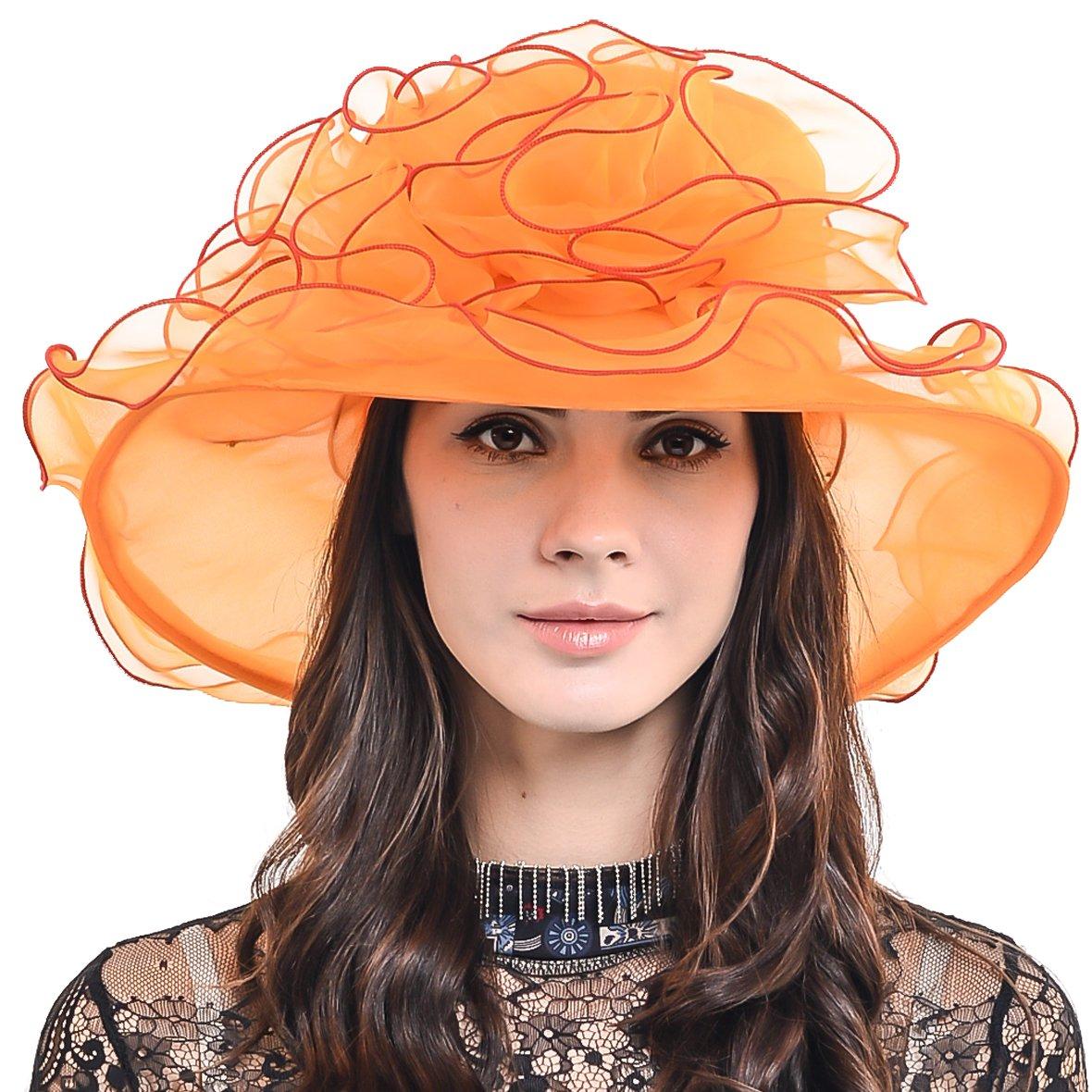 Womens Organza Church Dress Derby Wedding Floral Tea Party Hat S09 (Orange) by HISSHE (Image #1)