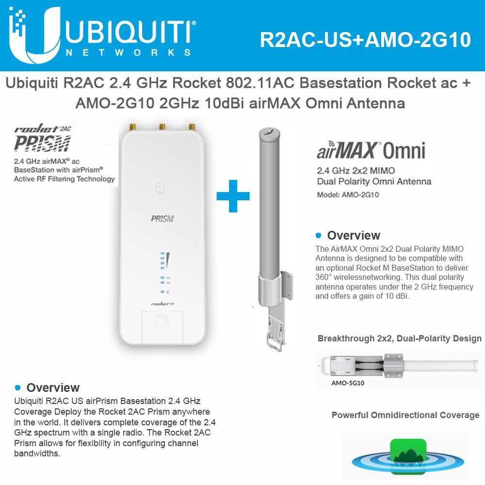 Ubiquiti R2AC US airPrism Basestation 2.4GHz Rocket ac airMax + AMO-2G10 Omni Antenna 2GHz 10dBi