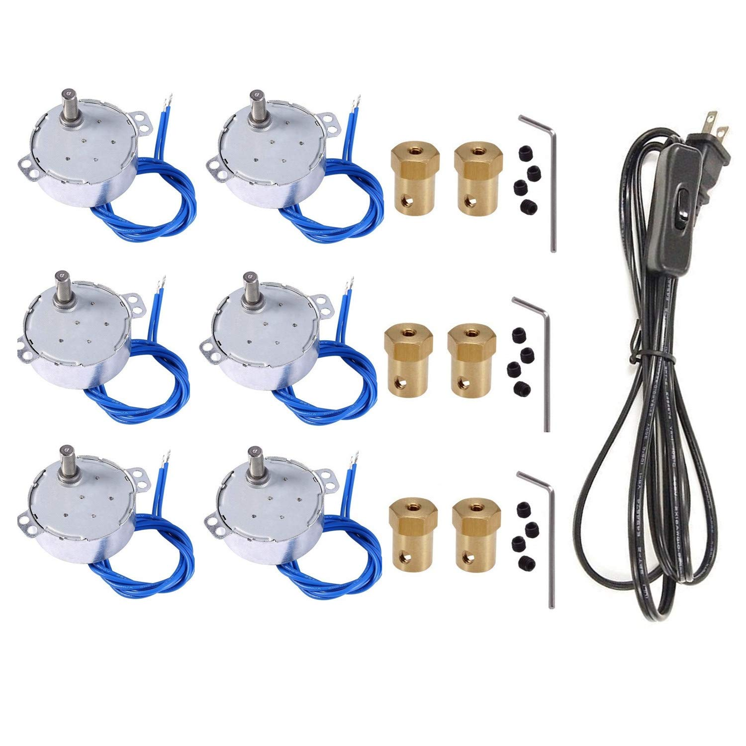 6PCS Synchronous Synchron Motor Turntable Motor 50/60Hz AC100~127V CCW/CW 4W with 7mm Flexible Coupling Connector And 6ft Power Cord Switch Plug For Cup Turner,Cuptisserie,or Guide Motor (5-6RPM)