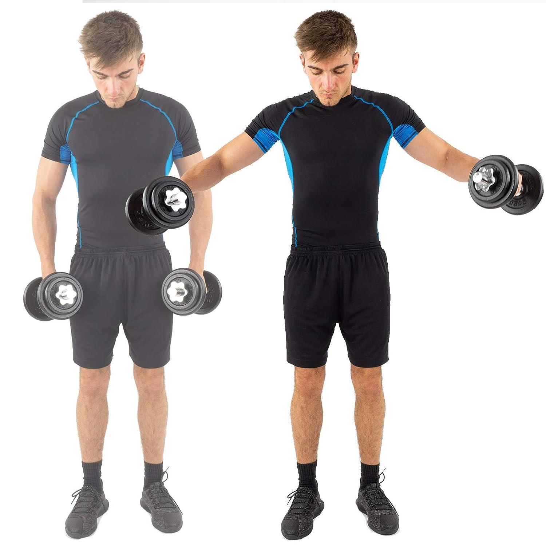 ScSPORTS - Pesas para halteras (20 kg, 2 barras cortas, 4 unidades de 2,5 kg cada una, 4 unidades de 1,25 kg cada una): Amazon.es: Deportes y aire libre