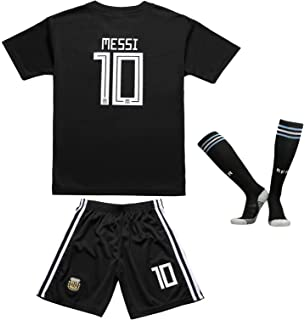 EGS FWC 2018 Argentina #10 Lionel Messi Away Kids Jersey & Shorts Socks Youth Sizes