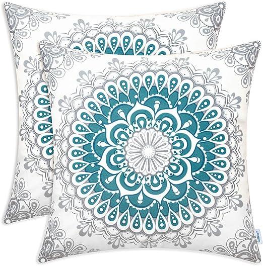 "CaliTime Cushion Cover Pillow Cases Shells Mandala Pattern Compass Medallion 18/"""
