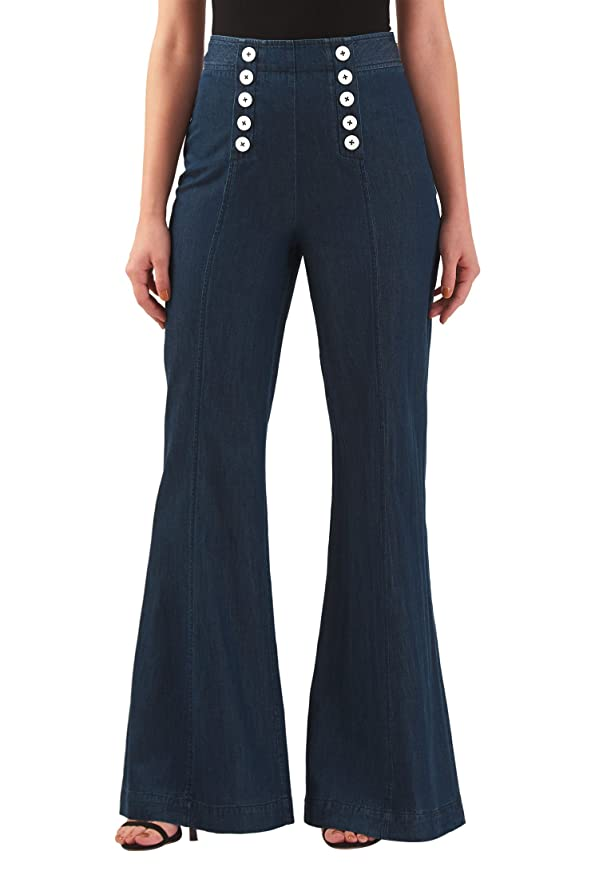 1940s Style Pants & Overalls- Wide Leg, High Waist Deep indigo cotton denim sailor pants $74.95 AT vintagedancer.com