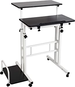 Mind Reader Mobile Sitting, Standing Desk Rolling Reversible Home Office Laptop Workstation with Side Storage, Locking Wheels, Large, Black/White