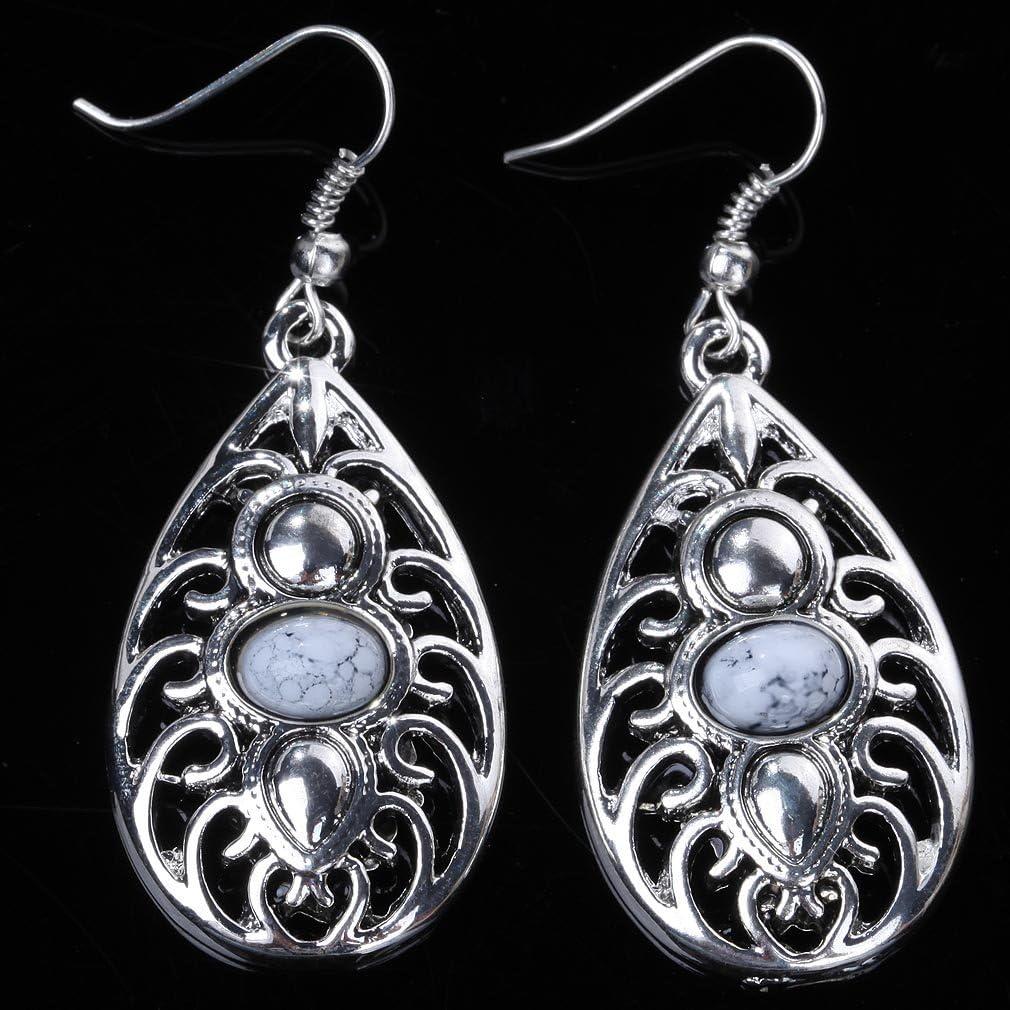 Yazilind Boucles d/'oreilles en argent tib/étain et turquoise en forme de goutte pour femmes