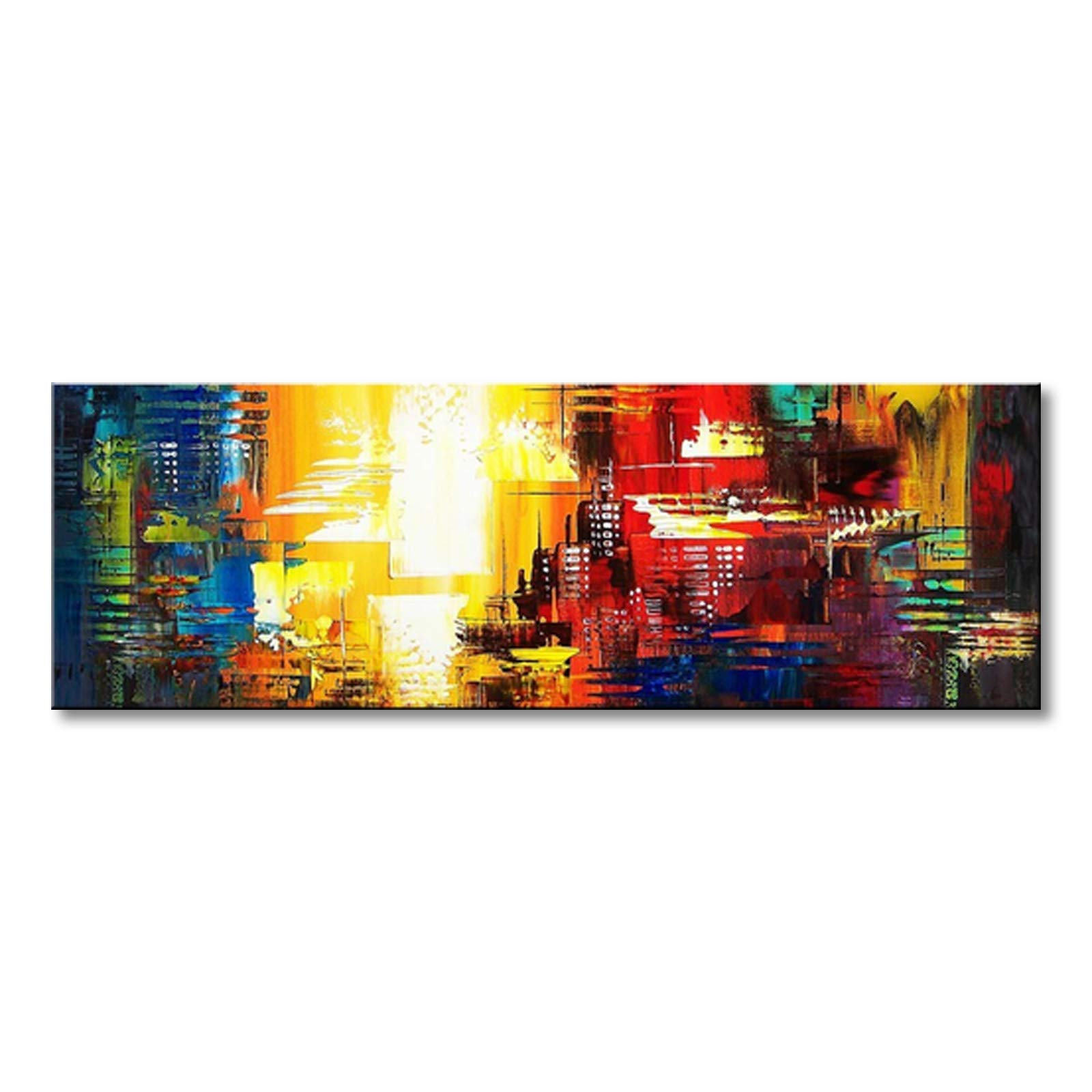 Seekland Art Hand Painted Abstract Canvas Wall Art Modern Picture Contemporary Acrylic Painting for Living Room Stretched Ready to Hang (Framed 60'' W x 20'' H)