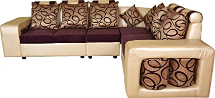 Lifestyle Solutions Zikra's Gold & Purple Sal Wood 6 Seater L-Shaped Sofa Set For Living Room