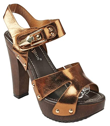 5d70311f8 JJF Shoes Women Maroon02 Bronze Leatherette Studded Slingback Faux Wooden  Platform Chunky Heel Sandals-5.5