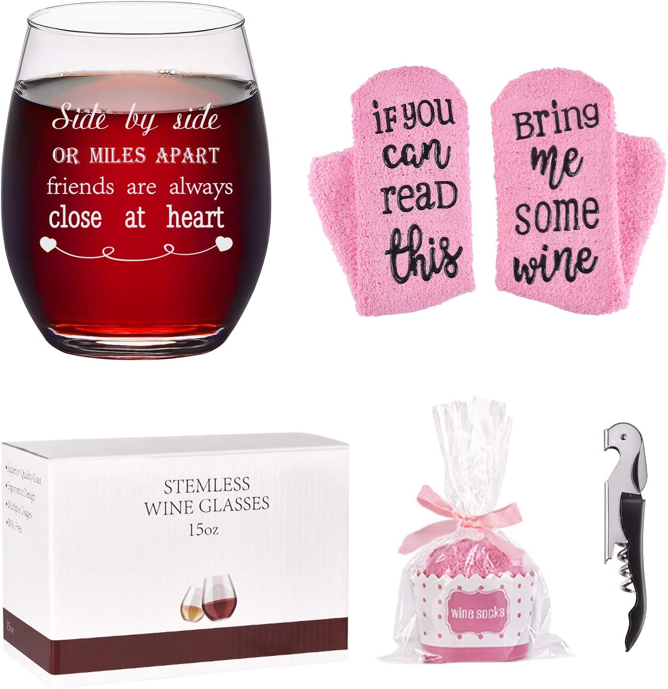 Friend Wine Glass with Cupcake Wine Socks Gift Set, Side By Side or Miles Apart Friends Are Always Close at Heart Stemless Wine Glass 15Oz - Friend Gifts for Women, Girls, Sisters, Best Friends