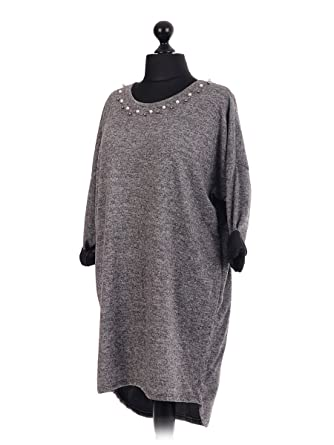 New Italian Stylish Lagenlook Top Jumper with Pearls All Around Neck One  Size Fits 14 16 18 20 22 (Dark Grey): Amazon.co.uk: Clothing
