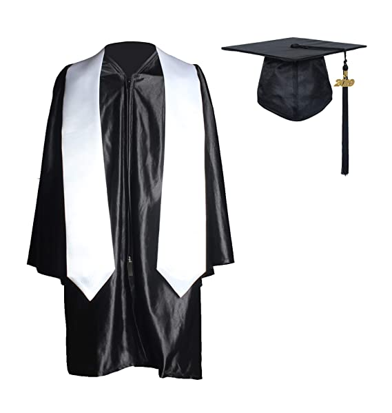 22d312634b MyGradDay Kindergarten Graduation Shiny Gown Cap and Plain Stole Package  with 2019 Tassel Black White