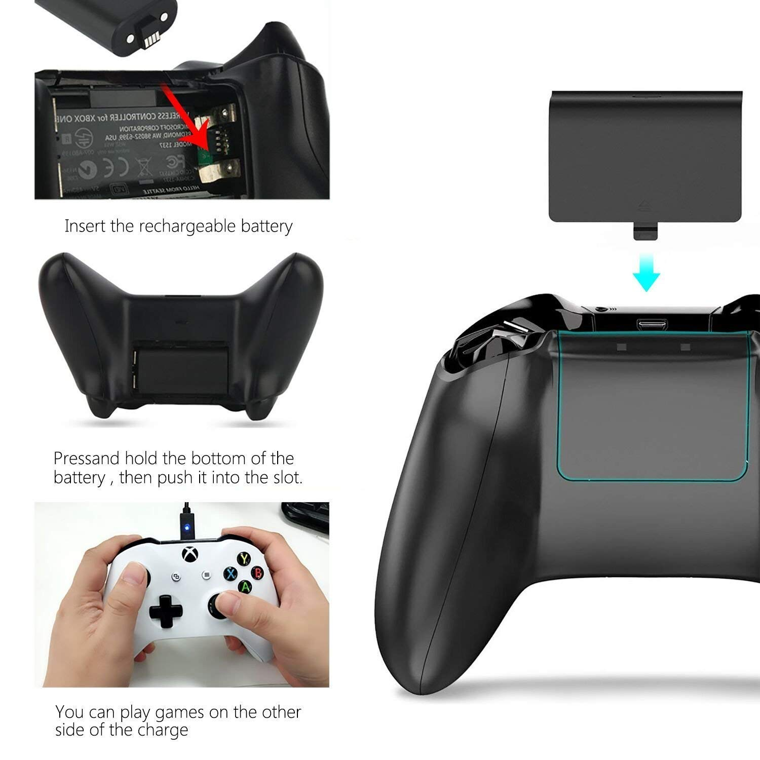 Xbox One Controller Battery Pack, Xbox One S Rechargeable Charge and Play Twin Batteries Replacement 1200mAh + 8.2ft / 2.5m Micro USB Charging Cable, Black