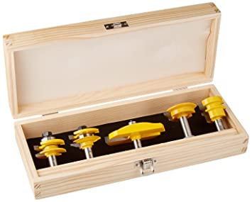 Yonico 12530 5 Bit Cabinet Door Router Bit Set with Large Ogee 1/2-