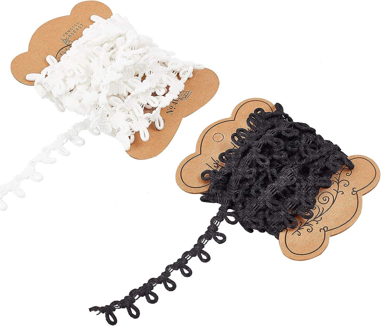 Rollo Cordon El/ástico con Ojal Banda El/ástica de Lazo de Bot/ón El/ástico Blanco Y Negro de 15 mm de Ancho para Manualidades de Costura DIY NBEADS 2 Rollo 3m