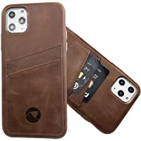 Luckycoin Slim Leather iPhone Case for iPhone 11 Pro Max Hand Crafted Vintage Top Grain Leather ID Card Slots Back Case…