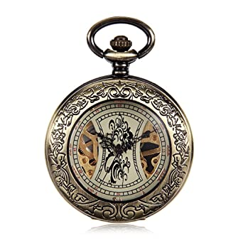 Roman Numerals Antique Skeleton Mechanical Pocket Watch Men Bronze Tone Hand Wind Steampunk Fob Watches Reloj