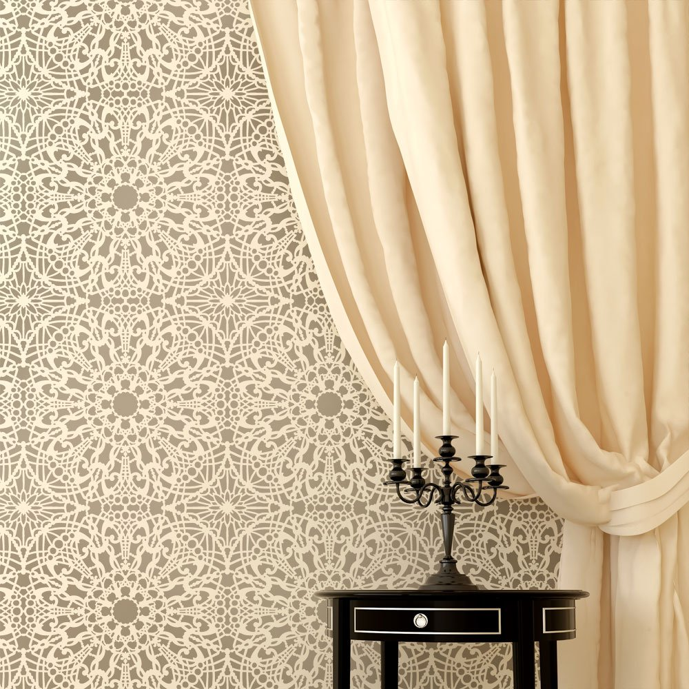 Stephanies lace allover wall pattern stencil reusable stencils stephanies lace allover wall pattern stencil reusable stencils for wall decor reusable stencils for diy wall decor amazon amipublicfo Images