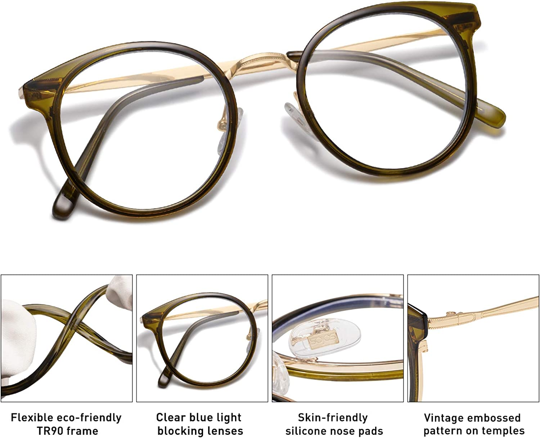 SOJOS Occhiali da Vista Retr/ò Rotondi Blu Chiaro per Donne TR90 Occhiali da Vista per Computer SJ5055