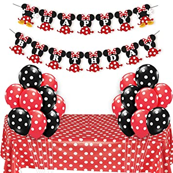 JOYMEMO Minnie Mouse Party Supplies Red and Black for Girls Happy Birthday Banner Polka Dot Balloons Tablecloth for Birthday Party, Baby Shower ...