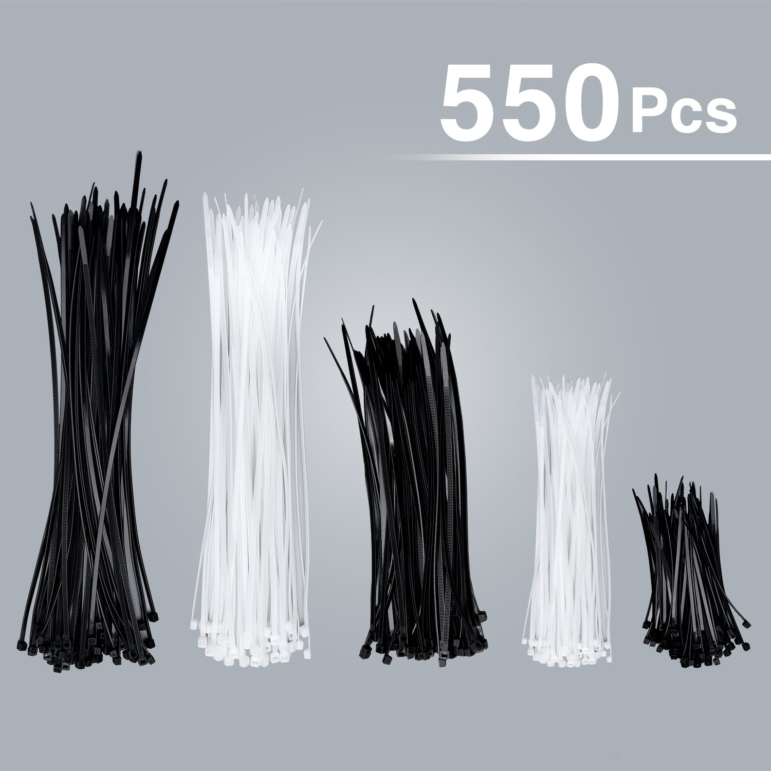 Syntrific 550 Pack Zip Ties Heavy Duty Cable Ties zip tie zip tie gun zip tie mount tie Cable Zip Ties (4''+6''+8''+12Inch) Perfect for Organizing Wires Home &Office Garage Workshop Use(White and Black)