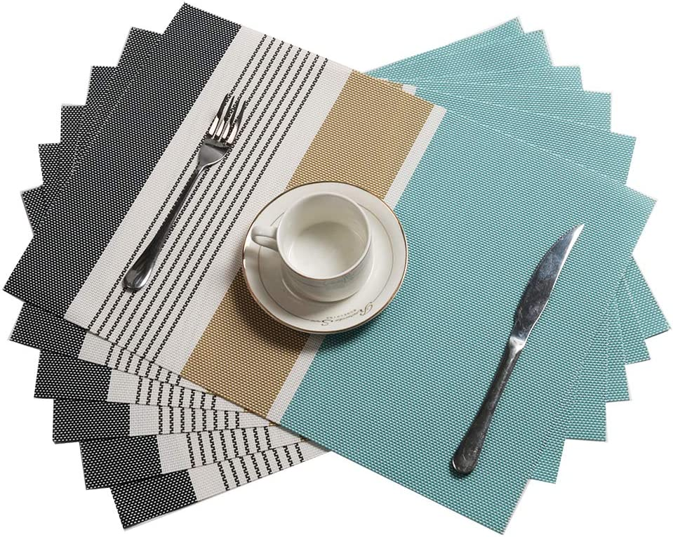 Sayopin Place Mats Set of 4 Heat Insulation Stain Resistant Placemats for Dining Table Durable Cross Weave Woven Vinyl Kitchen Table Mats Placemat Grey-4
