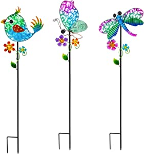 Butterfly, Dragonfly, and Bird Solar Garden Stake, Set of 3-7 x 3 x 36 Inches