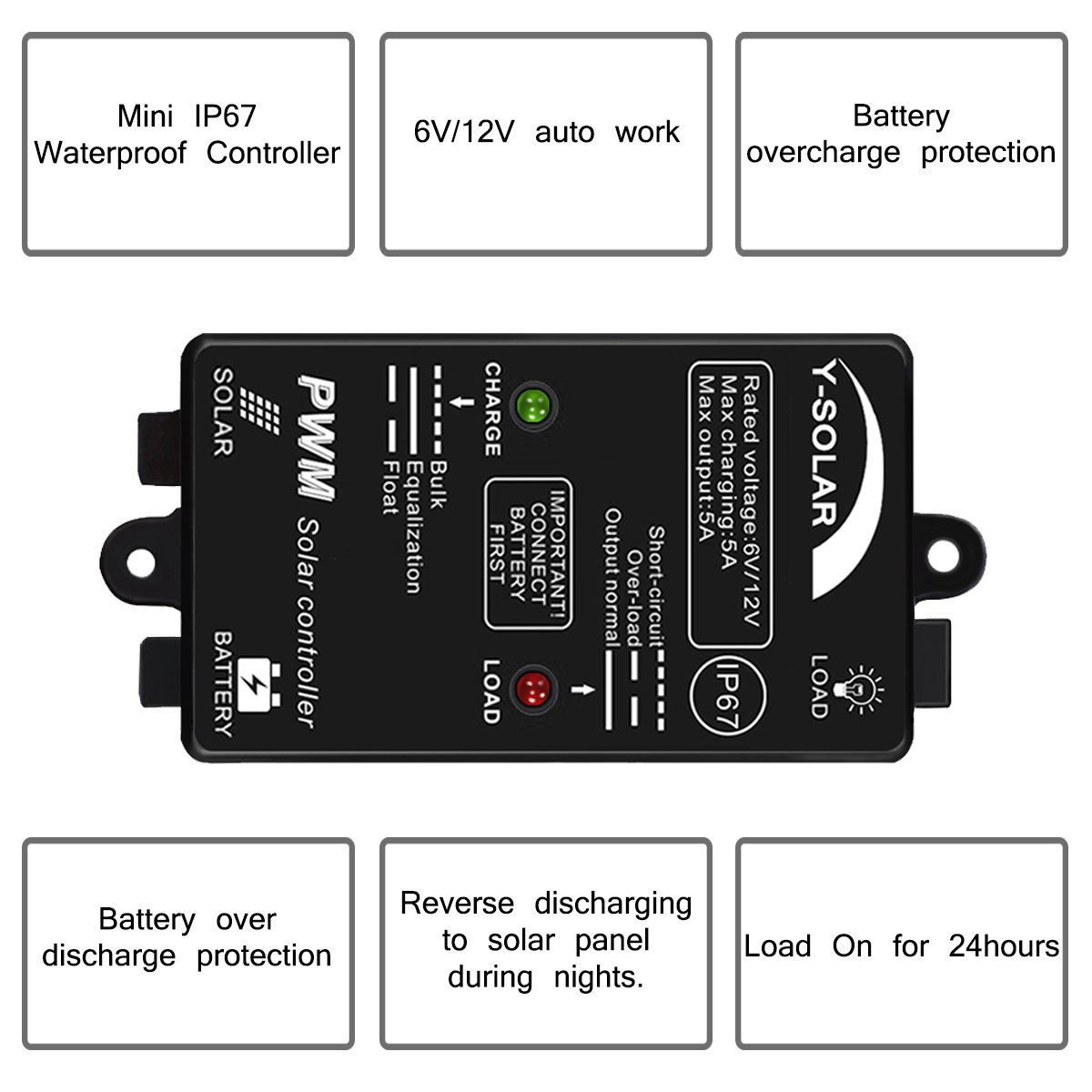 5a Solar Charge Controller Waterproof Y 6v Battery Ups Circuit Diagram Automatic Panel 12v Load On 24h Ip67 For Lithium Polymer Charging