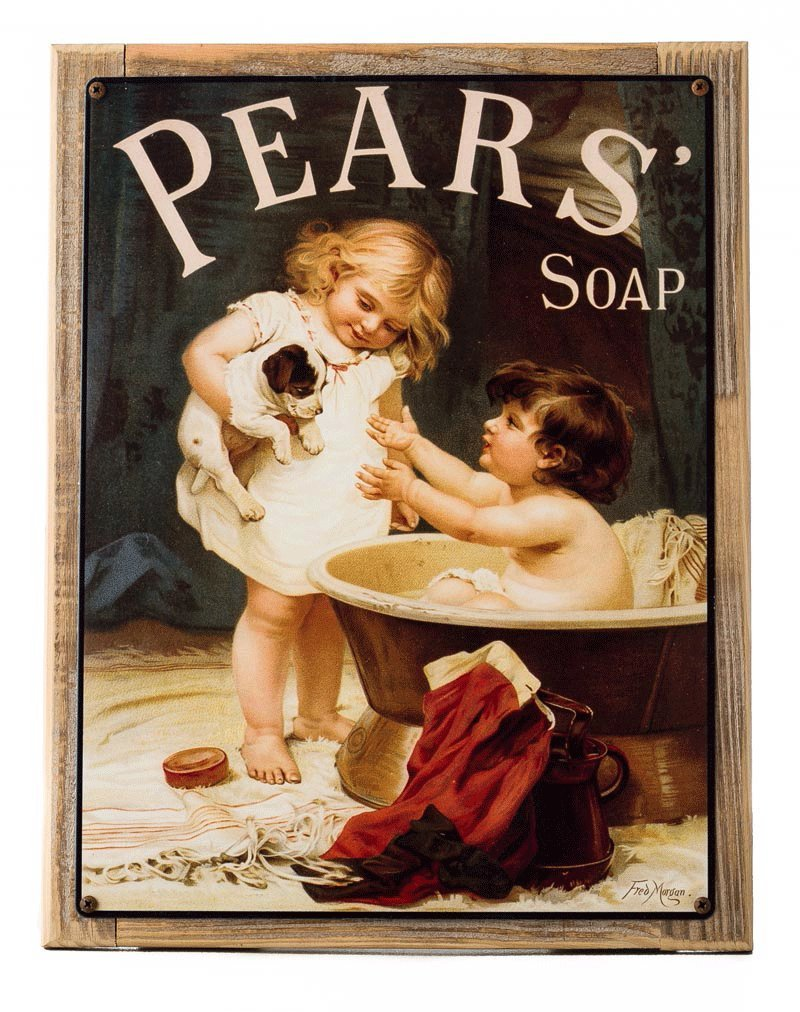 Pears Soap Metal Sign Framed on Rustic Wood, Victorian Child with Puppy, Bath