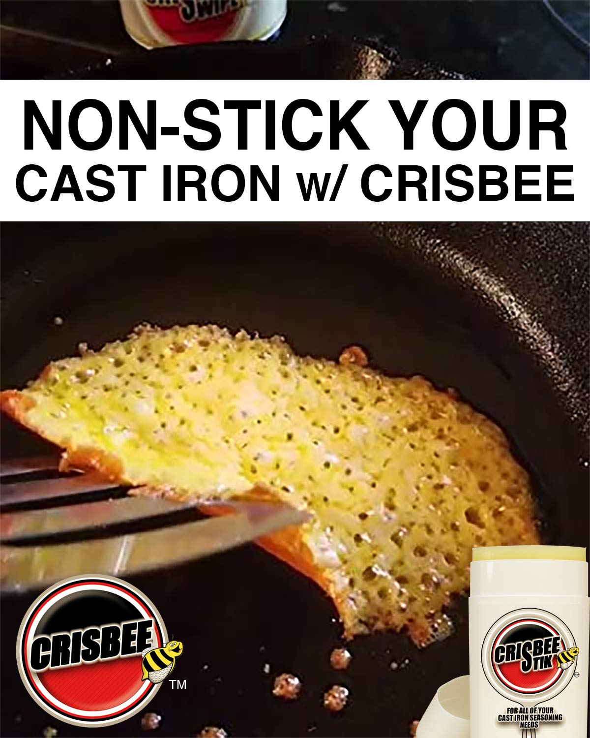 Crisbee Puck Cast Iron Seasoning - Family Made in USA - The Cast Iron Seasoning Oil & Conditioner Preferred by the Experts - Maintain a Cleaner Non-Stick Skillet by Crisbee (Image #5)