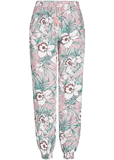 5190c306429d04 Seventyseven Lifestyle Damen Sommer Hose floraler Print 2 Taschen rosa  Weiss grün, Gr:S: Amazon.de: Bekleidung