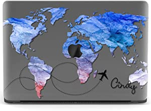 Mertak Hard Case for Apple MacBook Pro 16 Air 13 inch Mac 15 Retina 12 11 2020 2019 2018 2017 Name Print World Map Plastic Design Abstract Laptop Protective Custom Blue Travel Plane Cover Touch Bar