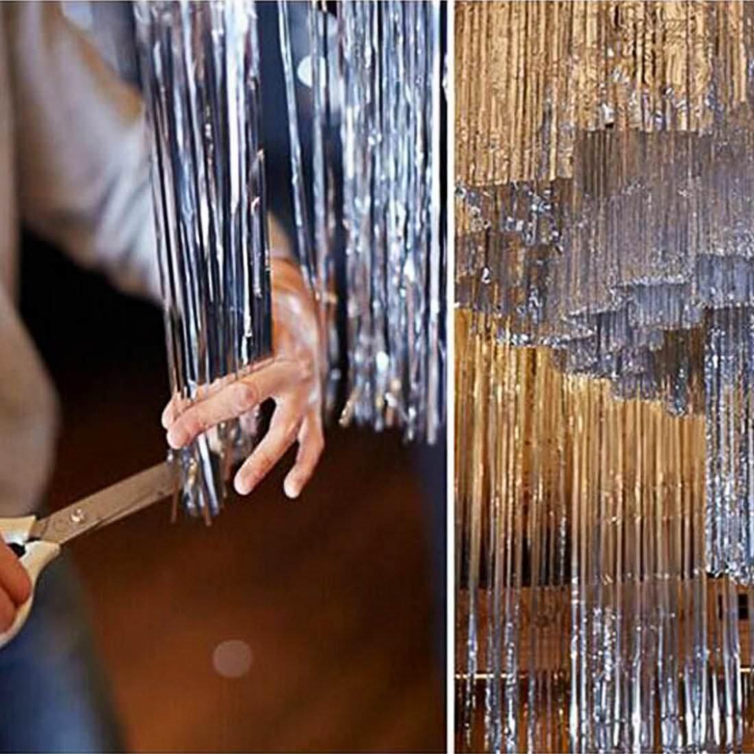 Gold Oblique Unique/® Lametta Vorhang 92x245 cm