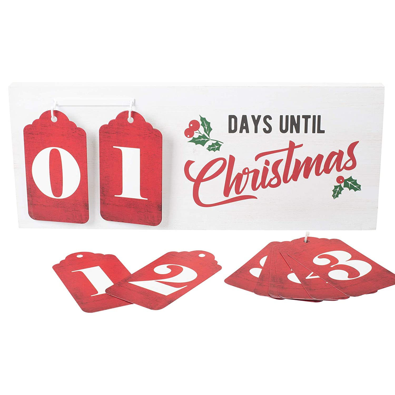 Days Until Christmas Countdown.Amazon Com Days Until Christmas Numbers Red 23 X 10 Mdf