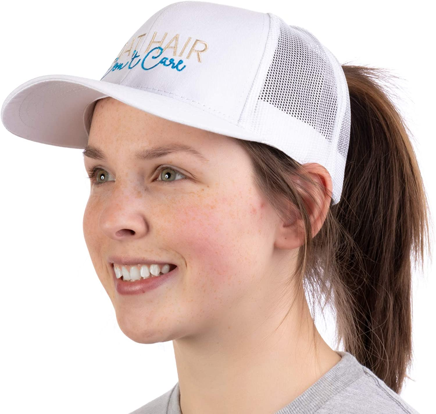 Boat Hair, Don't Care   Ponytail Trucker Hat, Boating Lake Cute Pony Tail Cap